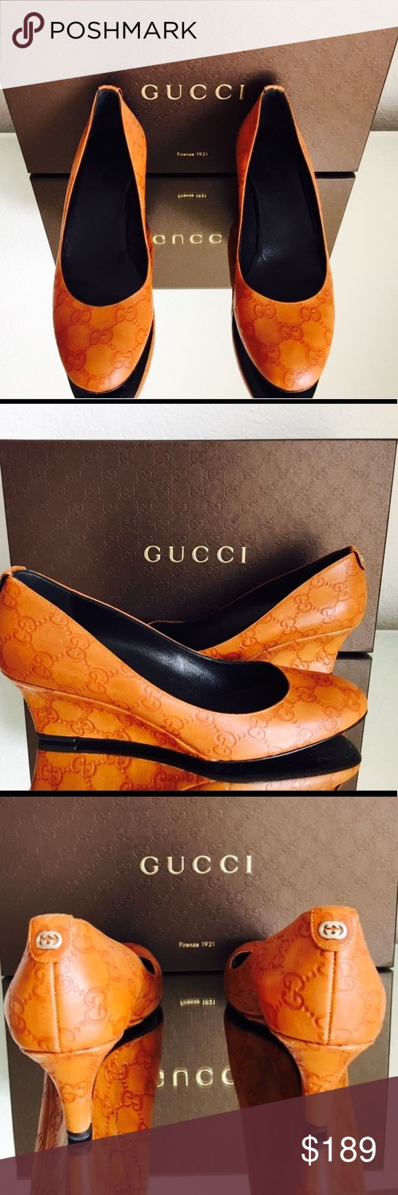 Gucci Embossed Leather Monogrammed Wedge Gucci Embossed Leather Monogrammed Wedge     Color: Carmel   Size: 38.5     Pre-loved - excellent condition     Est Retail: $695.00     Our Price: $189.00 Gucci Shoes Wedges