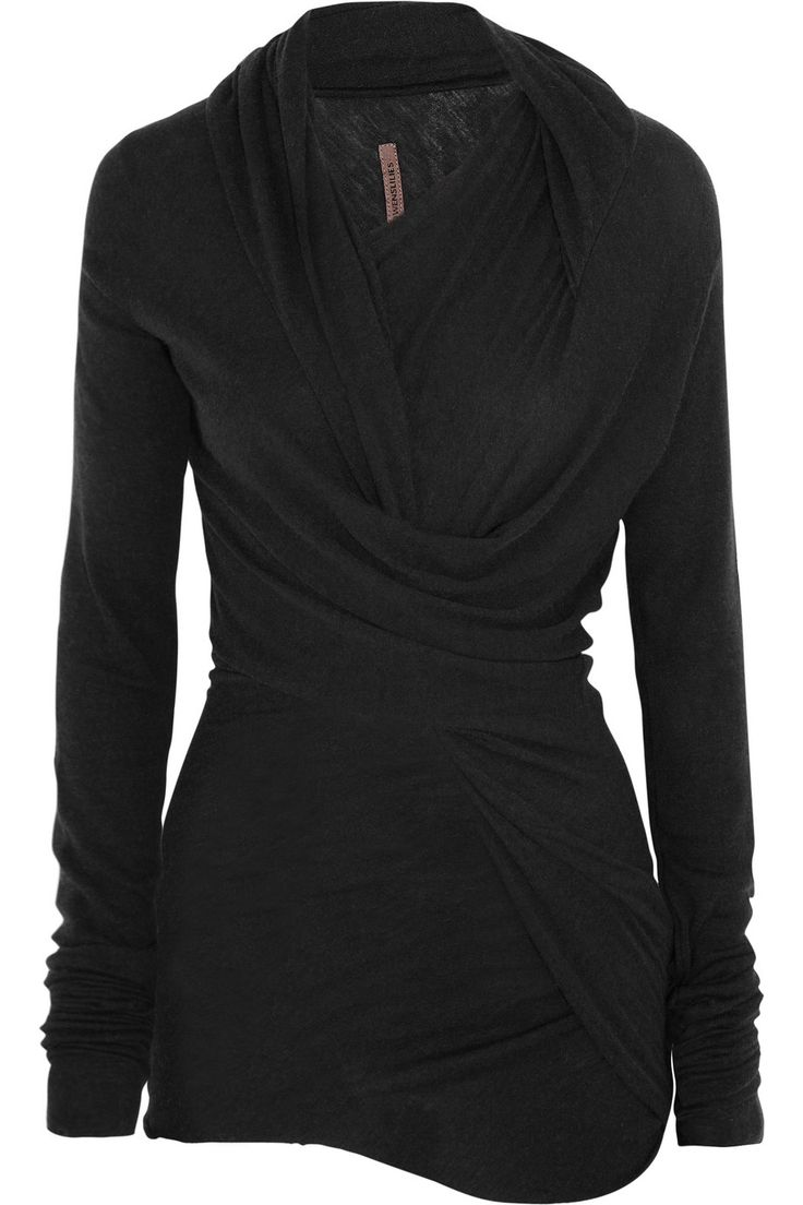 Cozy for fall. Rick Owens twist-front jersey top