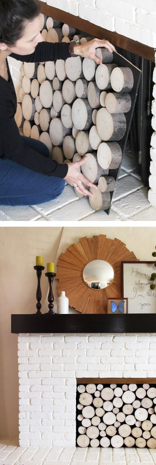 Clever fireplace coverup - cut logs glued to insert - http://www.pepperdesignblog.com/2013/02/27/pinterest-challenge-faux-log-stack-fireplace-facade/