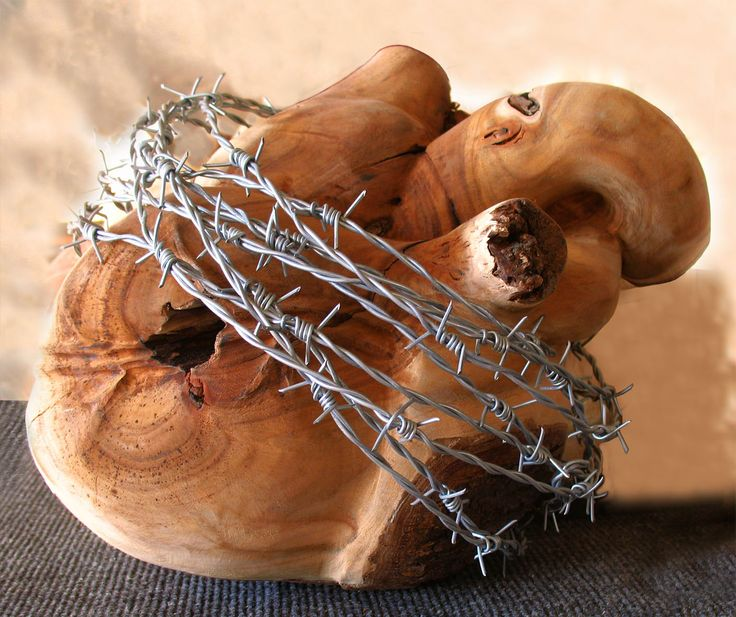 Sacred Heart wood+barbed wire