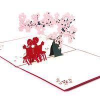 3D Pop Up Оригами Бумаги Лазерная Резка Поздравительные Открытки Ручной Работы Vintage Cherry & Lover День Рождения Открытки DIY Карты Спасибо