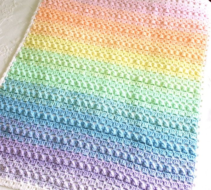 Rainbow crochet baby blanket pattern