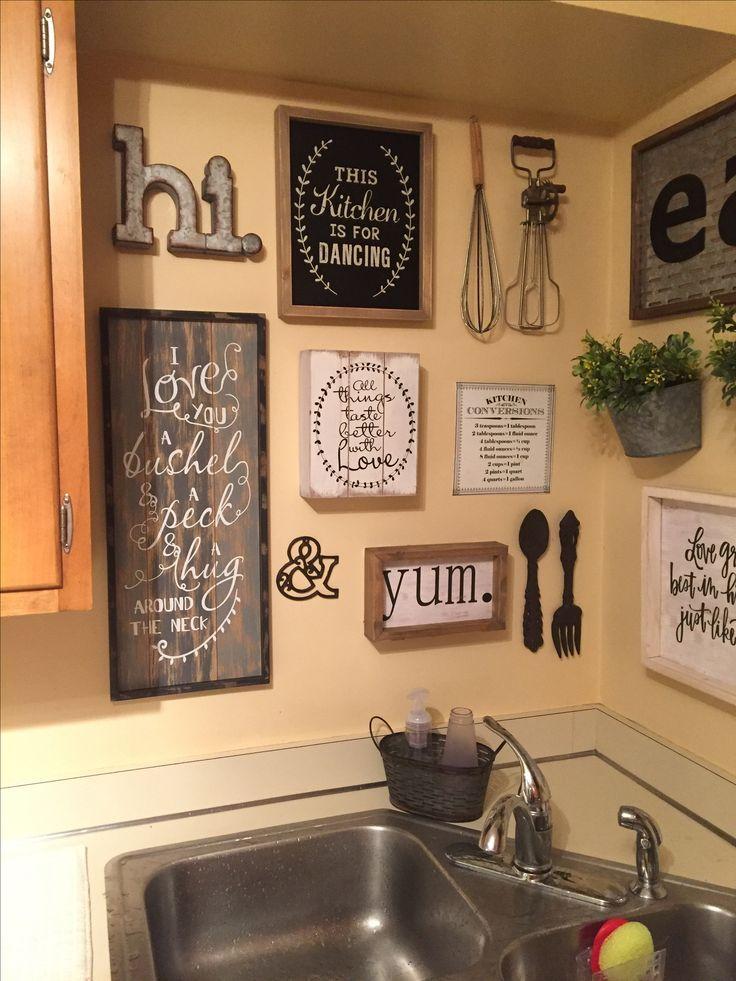 Kitchen Wall Decor Ideas Diy And Unique Wall Decoration Rustic Kitchen Decor Farmhouse Kitchen Decor Kitchen Gallery Wall