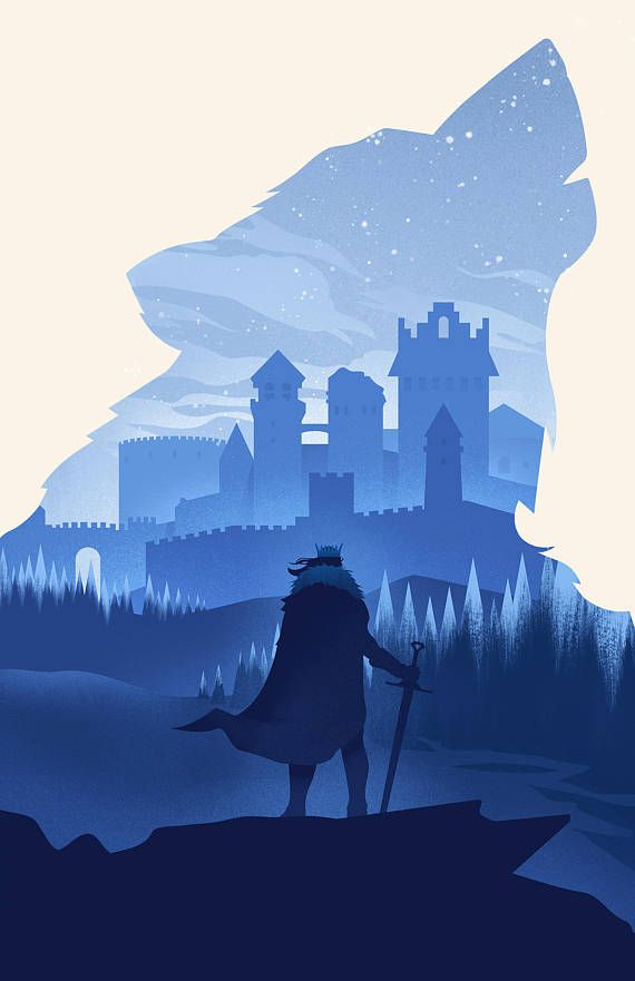 Game of Thrones Stark Winterfell Wolf Art Print Silhouette Poster 11 x 17