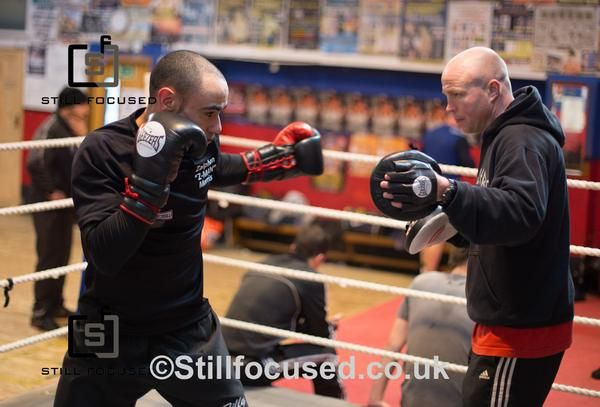 Zaiphan Morris with trainer Jon Thaxton at The Kickstop Gym in Norwich. Photographer Jerry daws