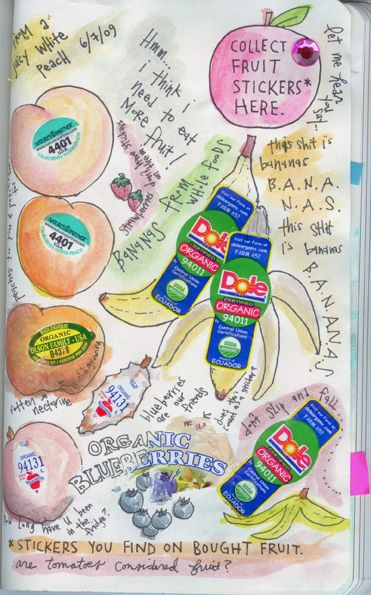 Collect fruit stickers here and other creative, fun pages to complete from Wreck This Journal. I had a creative activity/coloring book similar when I was a kid and I got a kick out of it.