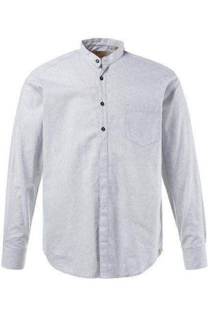 Langarmhemd bis 8XL, Hemd, Oberteil, Leinen-Baumwoll Mischung, Modern Fit, Stehkragen & Brusttasche