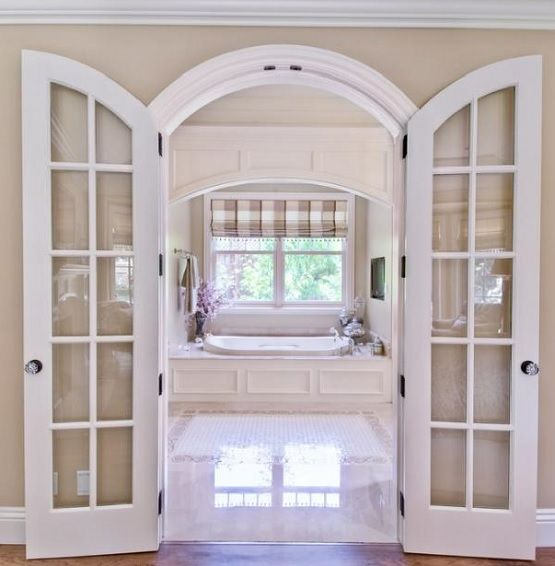 White arched interior doors with glass interior doors for Arched french doors