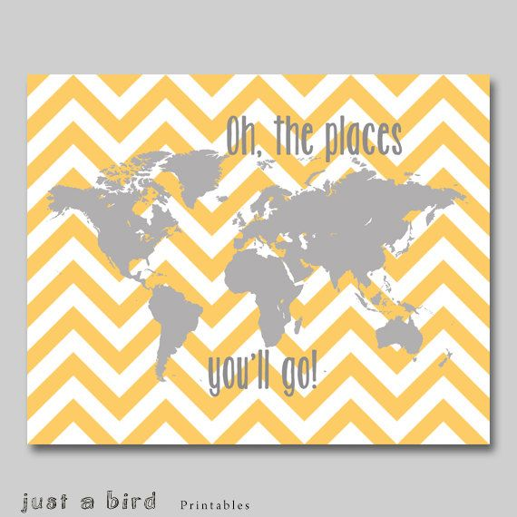 16x20 print, Oh the places you'll go - orange grey nursery decor, world map printable childrens art, chevron decor  - INSTANT DOWNLOAD