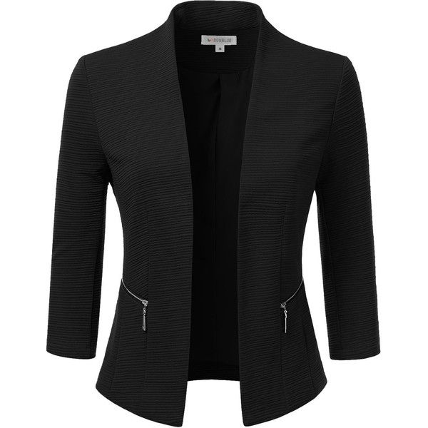 Doublju Classic Collarless Open Front Blazer Jacket (Plus size... (€34) ❤ liked on Polyvore featuring outerwear, jackets, open front blazer, collarless jackets, open front jacket, plus size blazers and women's plus size blazers