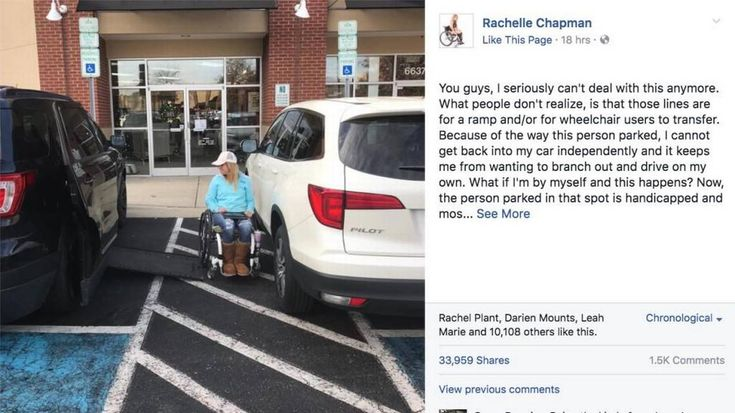 "Rachelle Friedman Chapman, the ""Paralyzed Bride"" from Knightdale, NC, wrote a post on Facebook that blasts people who park cars incorrectly near spaces designated for wheelchair access."