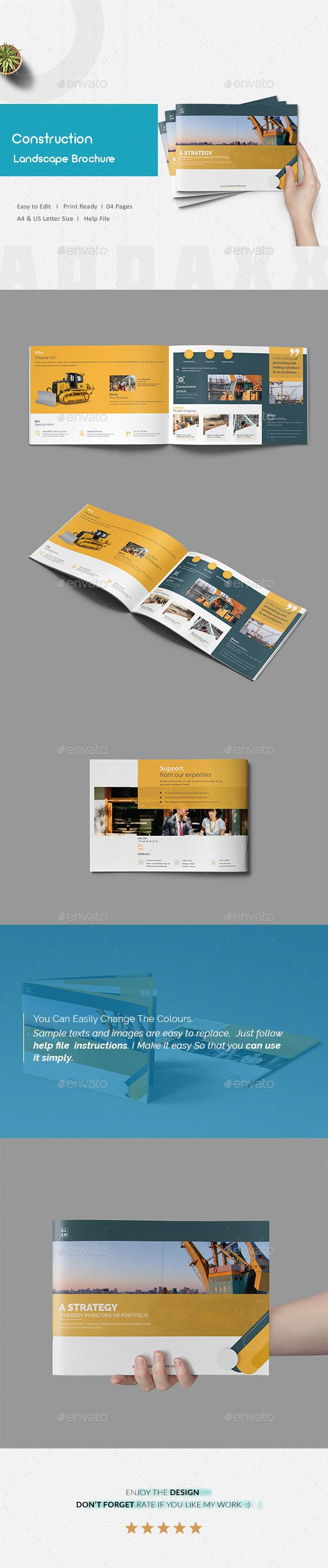 Construction Landscape Brochure Template InDesign INDD - 4 Pages A4 & US Letter Size