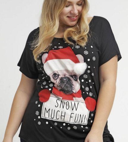 New Look Inspire Tshirt z nadrukiem psa w czapce Mikołaja black