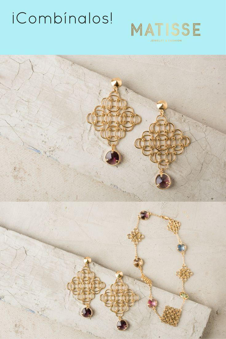 Aretes Rombo Kunzita con piedra cristal swarovski rivoli con baño en oro de 24k            y Pulsera Prismacolor con piedra cristal swarovski en baño en oro de 24k