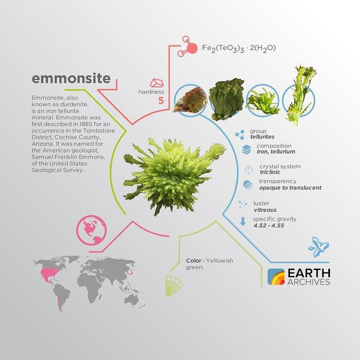 Emmonsite was first described in 1885 for an occurrence in the Tombstone District Cochise County Arizona and was named for the American geologist Samuel Franklin Emmons of the United States Geological Survey. #science #nature #geology #minerals #rocks #infographic #earth #emmonsite #usgs @usgs