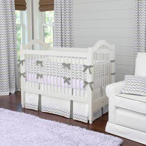 Purple Chevron Baby Bedding Sets