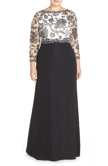 Tadashi Shoji Lace Tulle & Crepe A-Line Gown (Plus Size) available at #Nordstrom