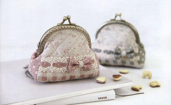 PDF Pattern of Bow coin purse wallet pouch clip handbag bag cotton sewing quilt applique patchwork art gift handmade