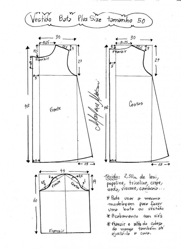 Uma modelagem simples que pode ser usada para fazer um vestido ou bata. Esquema de modelagem do 46 ao 62. Esquema de modelagem de vestido tipo bata plus size tamanho 50.