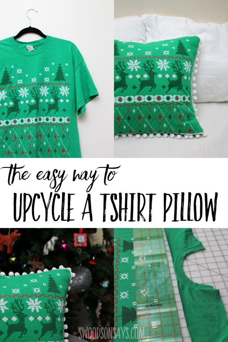 See the easy way to turn a t hirt into a pillow with this quick upcycle sewing t…