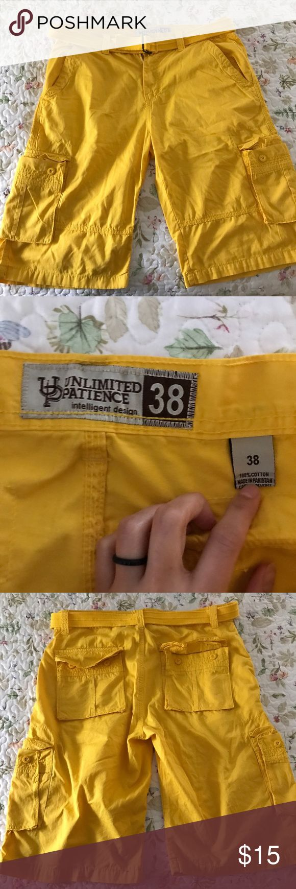 Men's Belted Cargo Shorts NWOT Yellow Belted Cargo shorts for men. Size 38. Shorts Cargo
