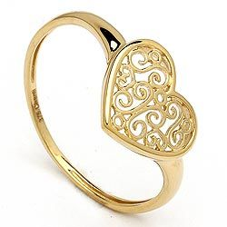 Fin hjerte ring i 9 karat guld
