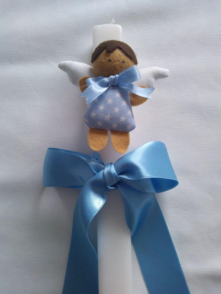 Vela decorada para menino.