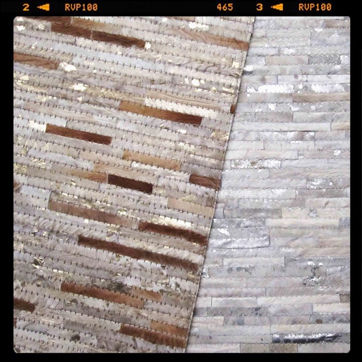 Look what's just arrived into our warehouse.... a client's beautiful custom-made leather hides in metallic gold and silver!!  Are you brave enough to try a metallic patchwork cowhide on your floor?? #TheRugCollection