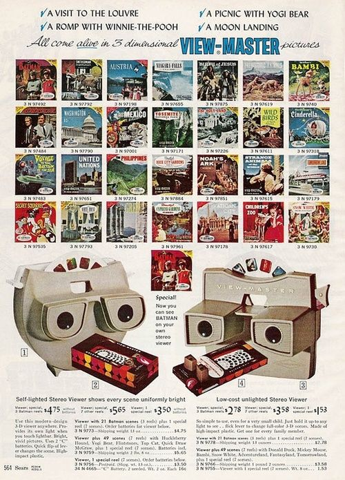 """Previous pinner: """"View-Master in the 1966 Sears Christmas catalogue."""" -- Me: Hungry, surprised View-Masters!!!"""