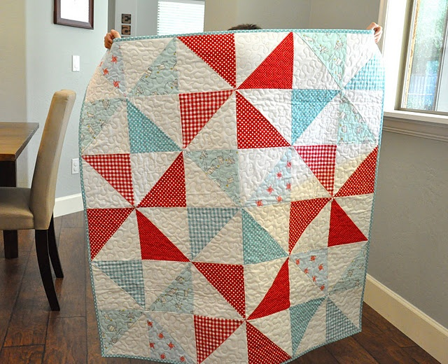 Sweet & simple quilt, large quilted pinwheel blocks, red and aqua quilt