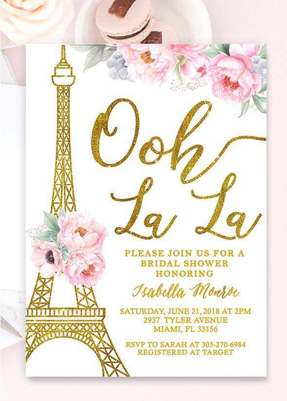 Paris Bridal Shower Invitation Paris Invitation Paris Themed Etsy In 2021 Paris Bridal Shower Theme Paris Invitations Paris Bridal Shower