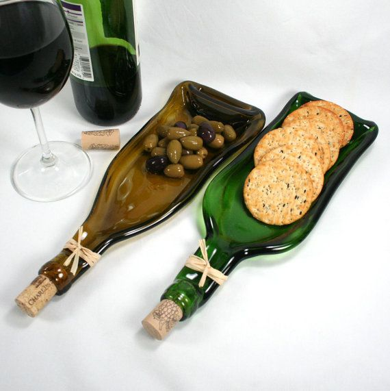 Dark Green Wine Bottle Molded Serving Tray or Spoon Rest with Cork- Recycled…
