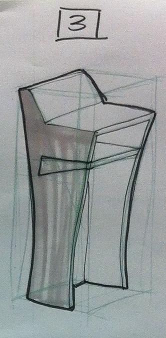 Small mobile presentation lectern: Rough concept 3