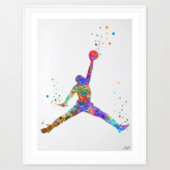 Michael Jordan Watercolor illustration Art by KidsAndHomes on Etsy