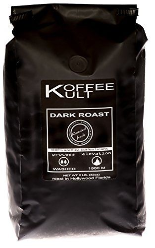 Koffee Kult Coffee Beans Dark Roasted - Highest Quality Delicious Organically Sourced Fair Trade - Whole Bean Coffee - Fresh Gourmet Aromatic Artisan Blend - 2 Lb Bag | shopswell