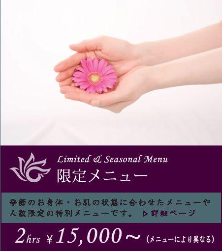 限定メニュー 究極美プライベートスパエステ【Y's Room】 2時間~ ¥15,000~ 季節のお身体やお肌の状態に合わせたメニューや 人数限定の特別メニュー。