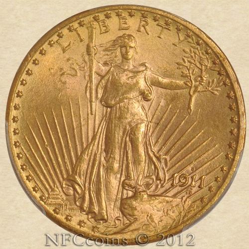 1911 D Saint Gaudens Ms65 Pcgs Obverse Augustus Saint