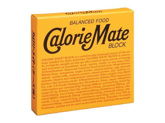 Package design of CalorieMate Block, a nutritional supplement product in Japan
