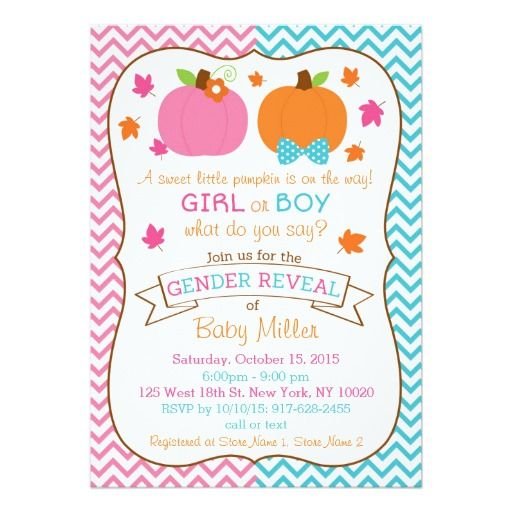 fall pumpkin gender reveal card - Gender Reveal Party Invites