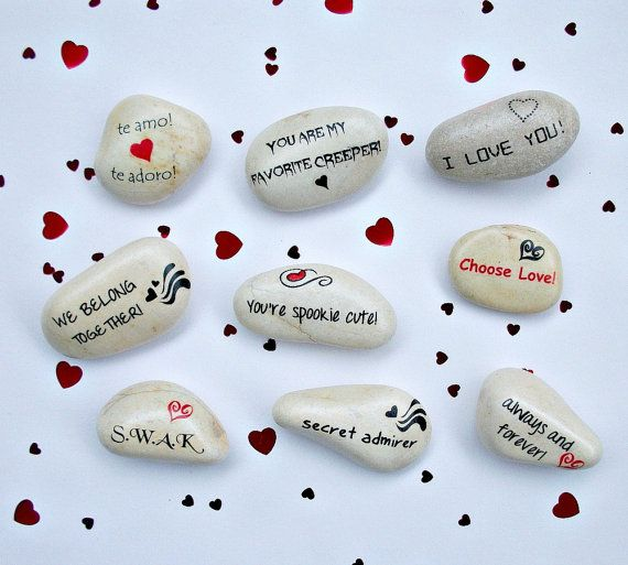 Valentine's Day Message Stones OneofaKind Petite by holidayhijinks, $11.00