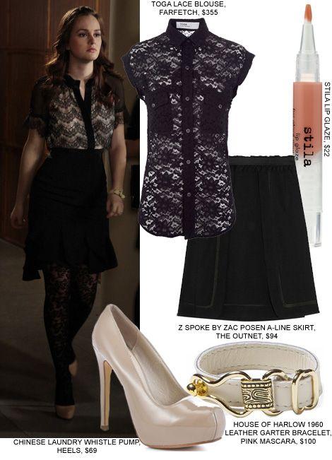 gossip girl blair waldorf fashion style lace blouse skirt