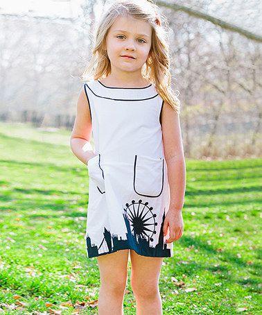 Another great find on #zulily! White & Navy London Skyline Shift Dress - Toddler & Girls #zulilyfinds