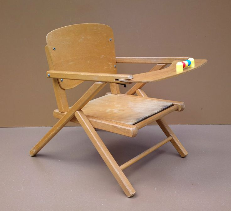Chaise pot enfant scandinave PIEDS COMPAS vintage ancien fauteuil bois BOULIER