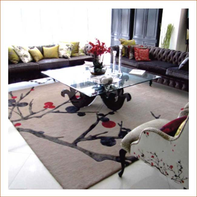 Modern woollen rug creates the perfect setting.