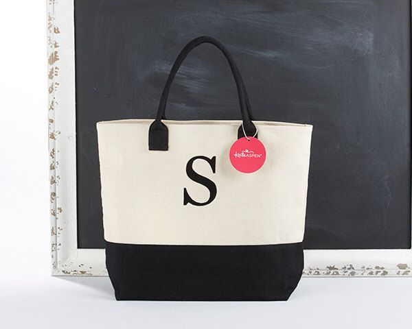 Classic Black And White Monogrammed Tote Bag Favors Canvas Totes Bridesmaid Bags Welcome Handbags Bridal Shower Wedding Birthday Party Favor by TaaraBazaar on Etsy https://www.etsy.com/listing/267401692/classic-black-and-white-monogrammed-tote