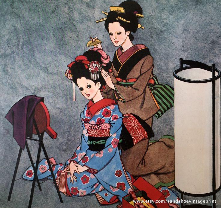 1960s JUNICHI NAKAHARA Big Eyed Girls in KIMONO Print Perfect for Framing by sandshoevintageprint on Etsy