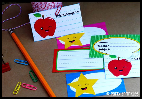 Party Sprinkles- Free printables BACK TO SCHOOL tags