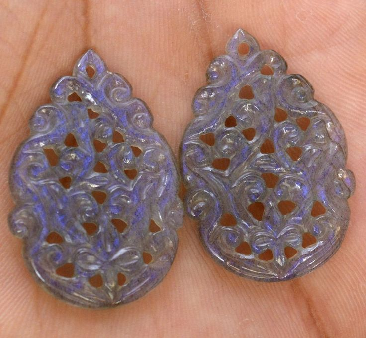 25.49 Cts Natural Labradorite Hand Made Carving 30x20 mm Pair Loose Gemstones #sbigems