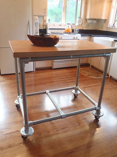 Rolling Kitchen Island Constructed From Pipe Kee Klamp