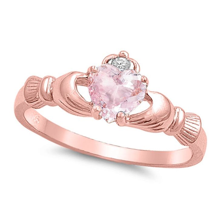 Rose Gold Claddagh Heart Pink Morganite CZ Promise Engagement 925 Silver Ring #Unbranded #SolitairewithAccents